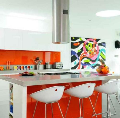 kücheninsel und halbinsel weiß rot klare arbeitsfläche