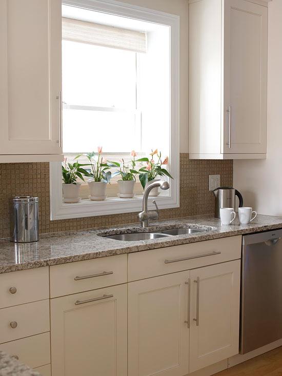 küchenbereich garten arbeitsplatte blumentopf