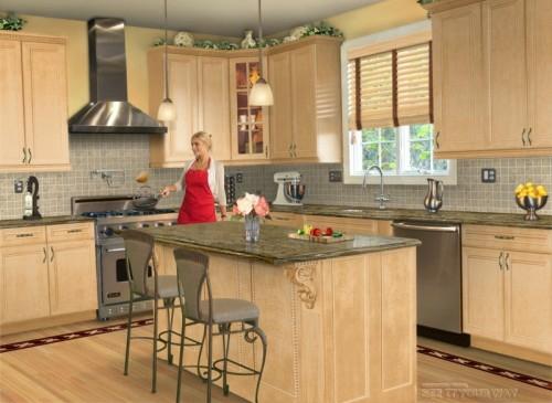 Kücheninsel mit Sitzplätzen hell holz möblierung sitzplatz design