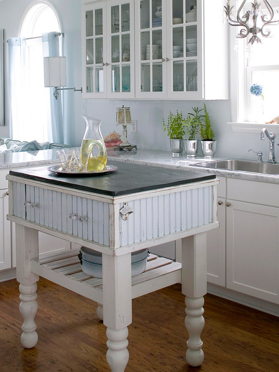 kücheninsel ideen klein raum landhausstil