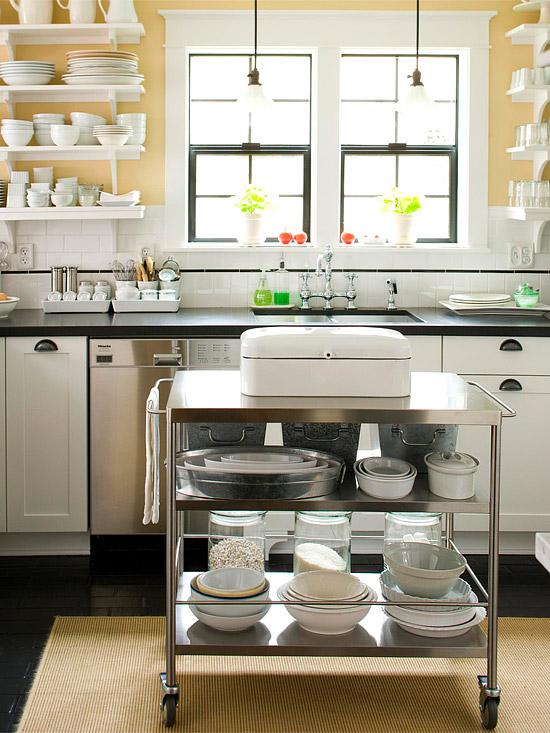 kücheninsel ideen klein raum mobil beweglich metall
