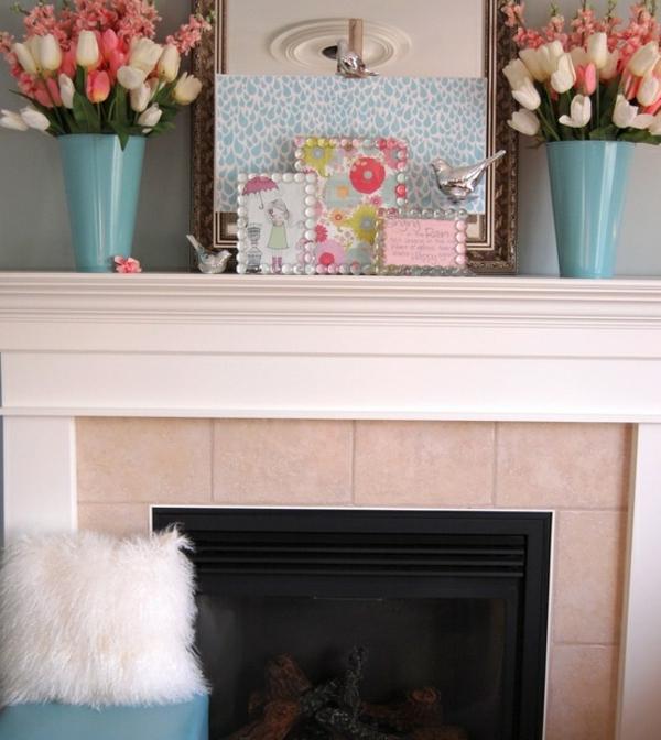kamin deko rosa tulpen
