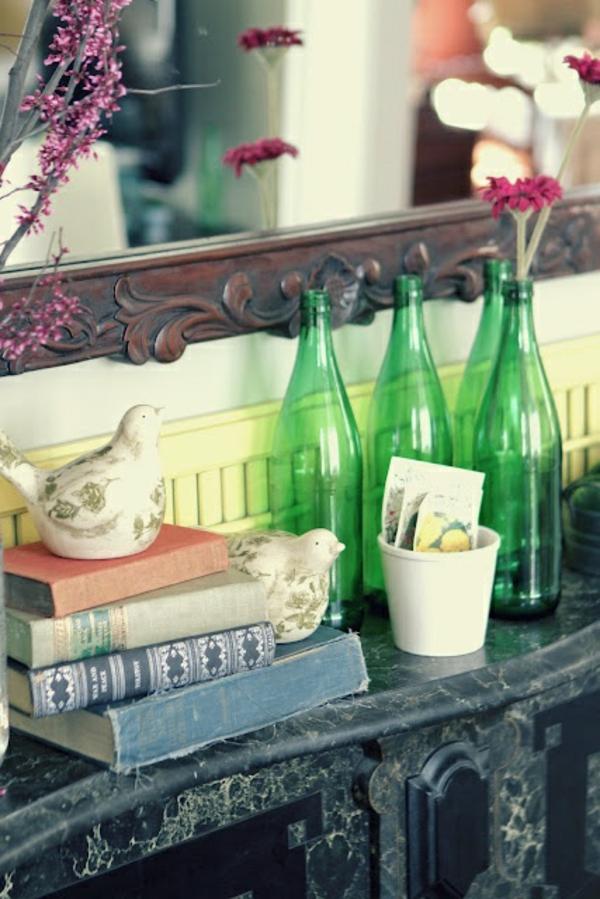 kamindeko frühling leere flaschen bücher