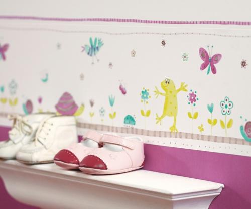 kinderzimmer design tapeten rosa kinderwelt illustration frösche blumen