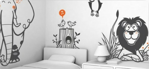 kinderzimmer design tapeten schwarz weiß konturen tiere