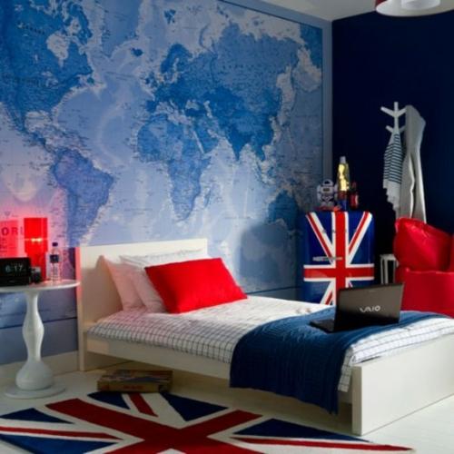 kinderzimmer im englischen stil landkarte blau tapeten