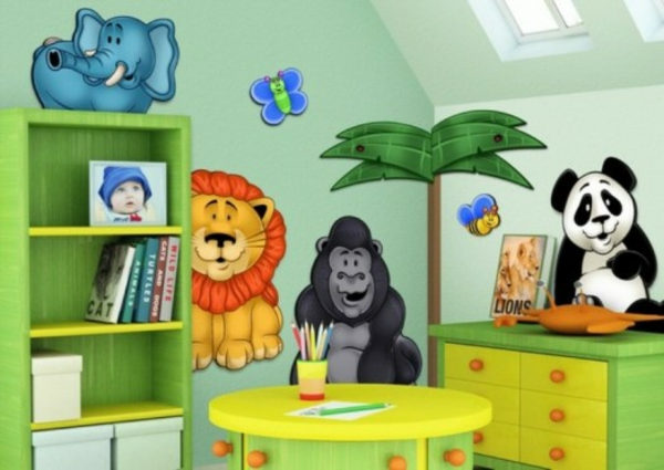lustige dschungel dekoration im kinderzimmer 15 sch ne beispiele. Black Bedroom Furniture Sets. Home Design Ideas