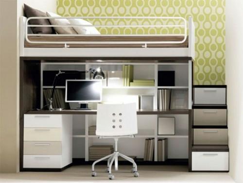 kleines schlafzimmer anordnen hochbett platzsparend bücherregale schubladen