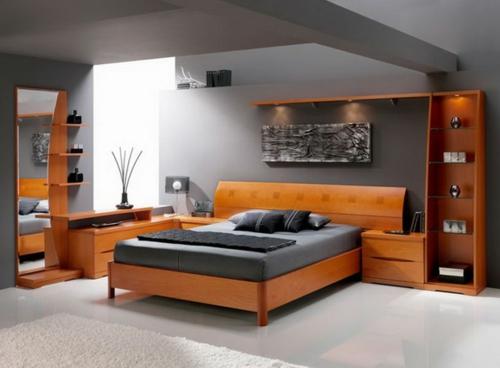 kleines schlafzimmer anordnen holz einrichtung