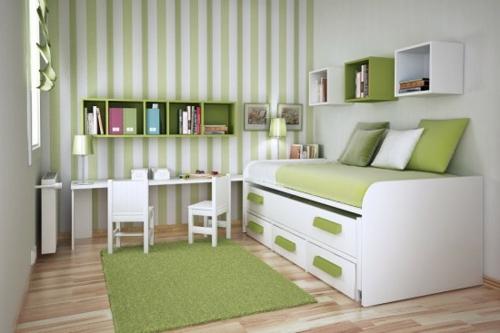 kleines schlafzimmer anordnen regale schubladen grün streifen