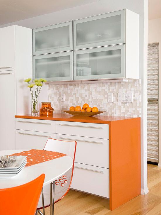 kompakte küchen orange eingebaut küchenblock