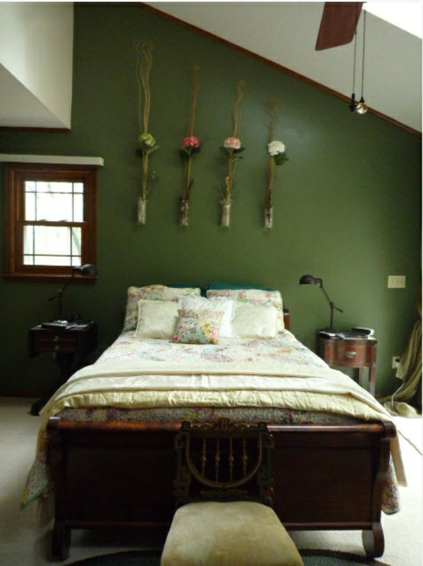 kreative frühlingsdeko im schlafzimmer grün