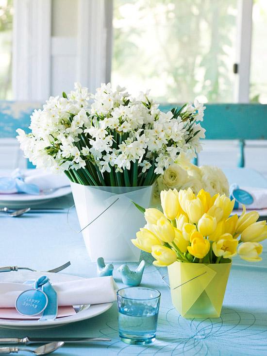leichte selbstgemachte tischdeko ostern tischsets blumen tulpen frühling