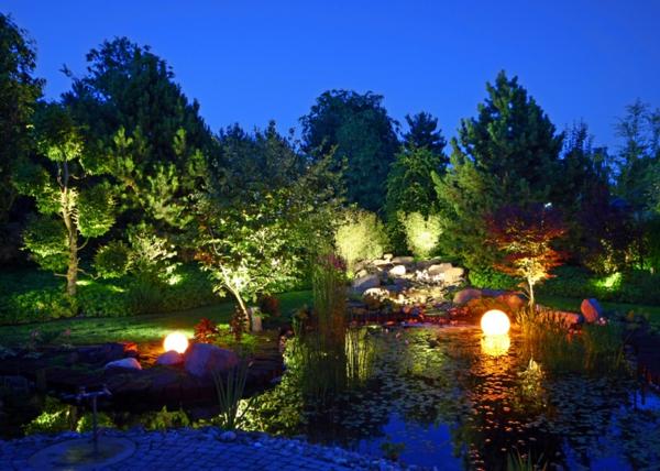 leuchten natur teich garten faszinierend abend