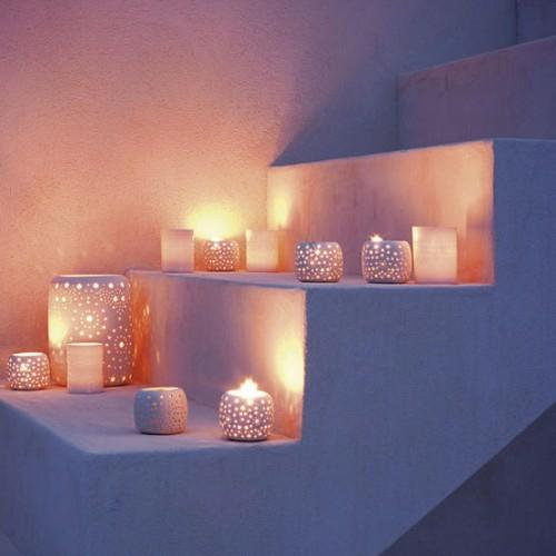 garten leuchten wunderschön abend kerzen treppe