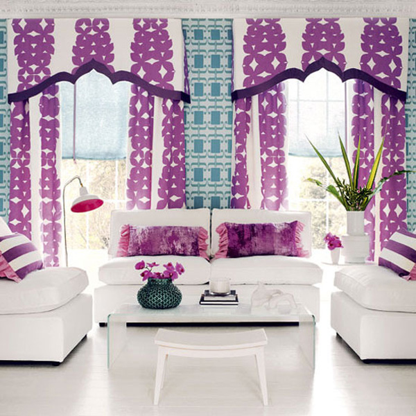 wohnzimmer lila weiß:Blue and Purple Living Room Curtains