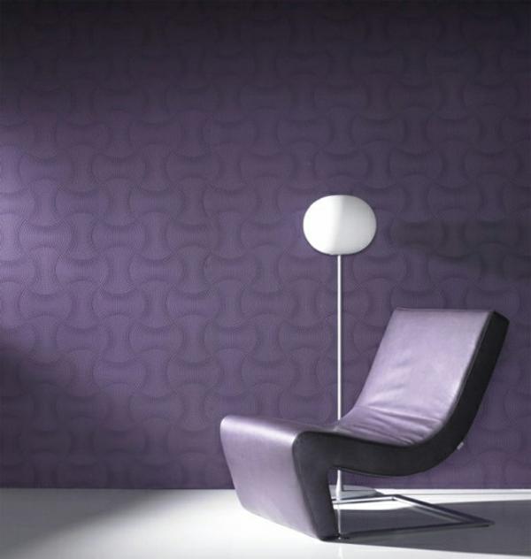 Moderne monochrome tapeten mit 3d effekt form und design for Tapeten in lila
