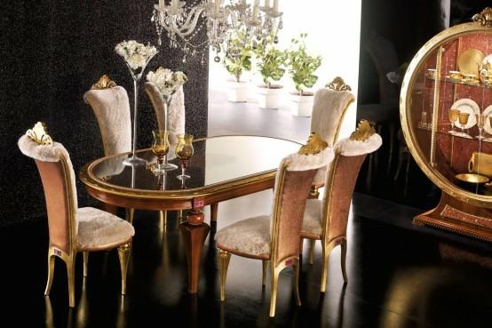luxus esszimmer möbel beige gold kristallen essbereich deko