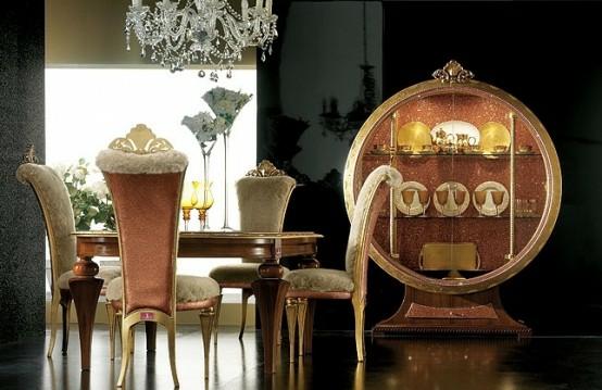 luxus esszimmer möbel baige gold kristallen prächtig