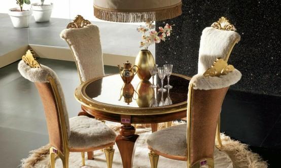 luxus esszimmer möbel baige gold kristallen rund tisch