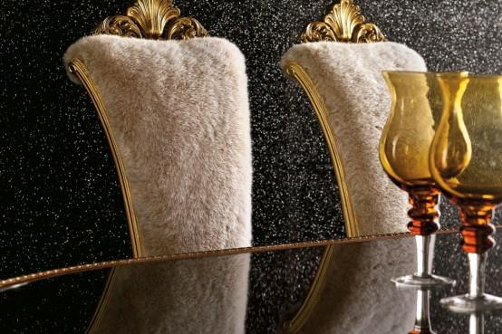 luxus esszimmer möbel baige gold rückenlehne pelz gepolstert weingläser