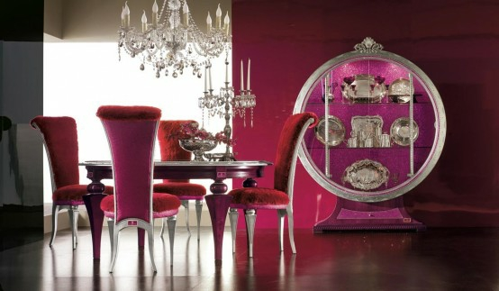 luxus esszimmer möbel pink rot kronleuchter stühle