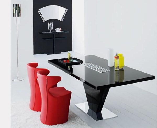 möbel luxus innovativ sessel esstisch schwarz rot