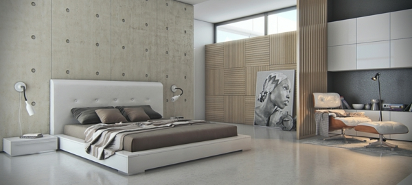 minimalistisch schlafzimmer niedrige möbel kopfteil weiß groß betontapeten