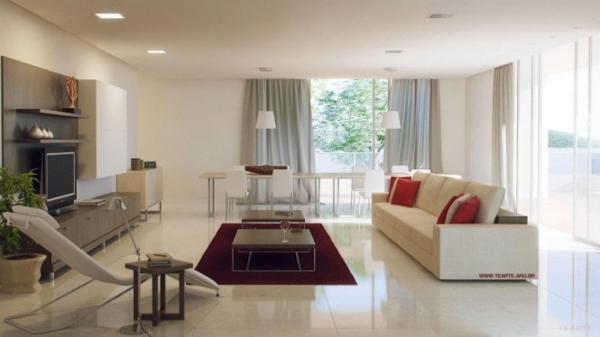 Wohnzimmer und kuche in einem raum