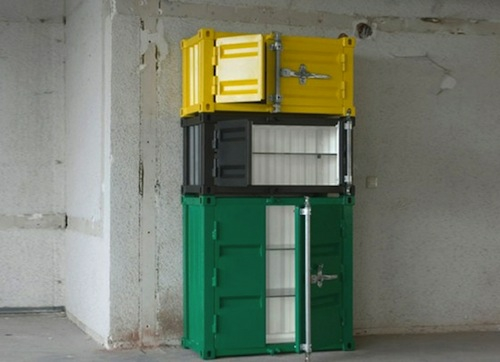 modern designer kleiderschrank industriell stil grün gelb weiß sander mulder