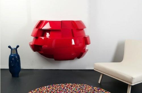 modern designer kleiderschrank rot grell wand befestigt van wieringen