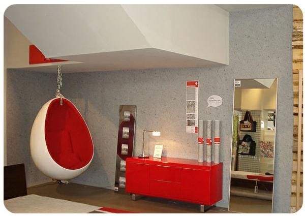 modern schlafzimmer hängender sessel originell rot glanzvoll oberfläche