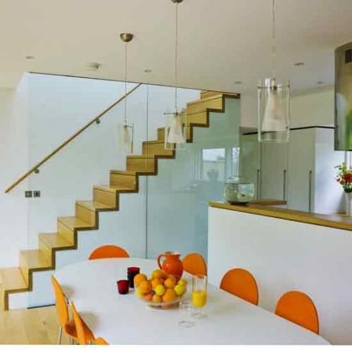 Modern Wohnküche Weiß Orange