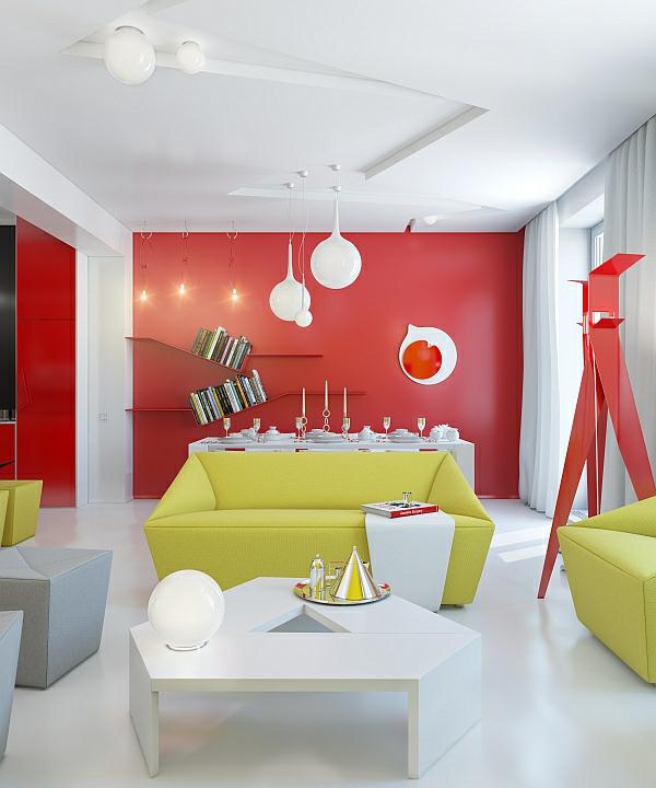 design wohnzimmer farben modern grn modernes wohnzimmer design helle kontrastierende farben - Wohnzimmer Farben Design