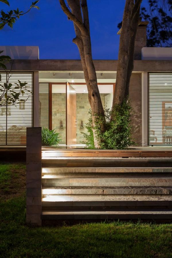 Moderne Architektur Haus Intigriert Avocado Baum Holz Gitter Naturgetreu