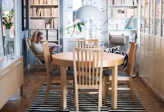 moderne esszimmer design ideen ikea holz rund essmbel streifen teppich