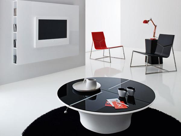 moderne futuristische möbelstücke fernseher kaffeetisch kontrast