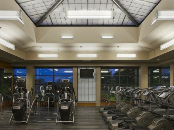 moderne geräte fitnessraum glaswände