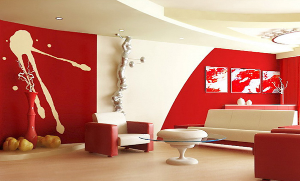 wohnzimmer rot orange:Red Modern Living Room Ideas
