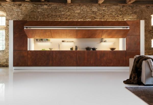 Moderne versteckte küche auf und zumachen per knopfdruck