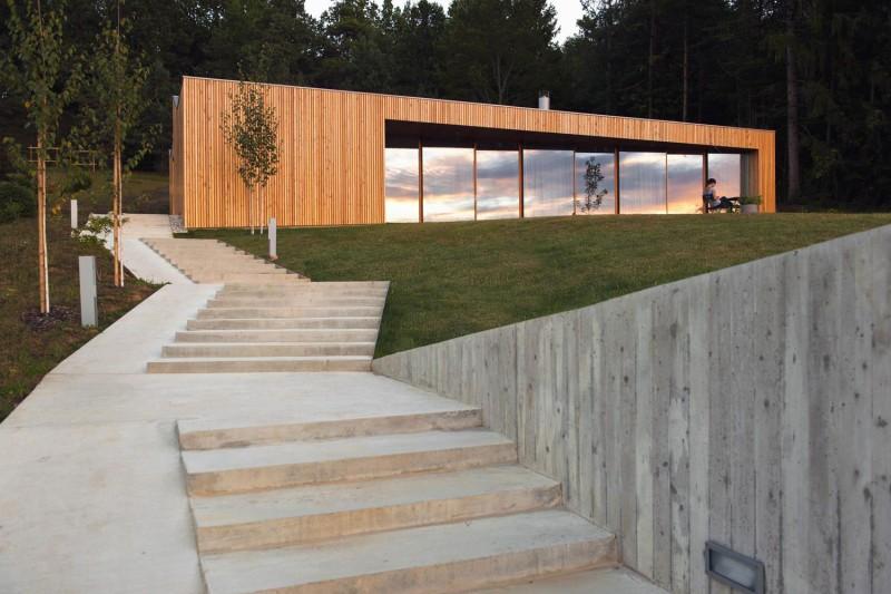 Moderne Zeitgenössische Architektur House Mj Eingang Treppen