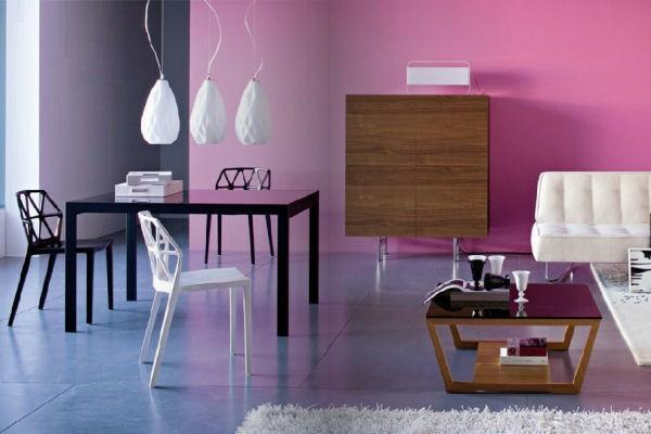 design wohnzimmer wände:modernes interieur design rosa wände