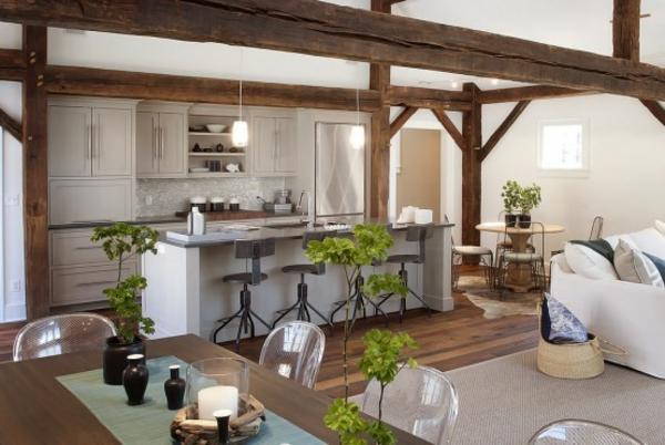modernes küchen design holzbalken