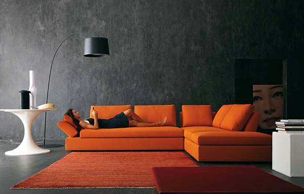 modernes wohnzimmer design - helle, kontrastierende farben - Modernes Wohnzimmer Design