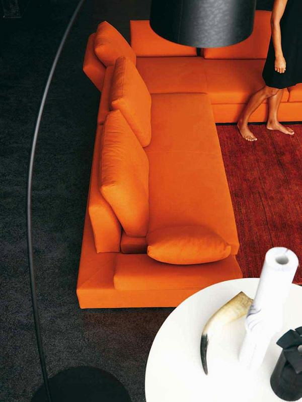 modernes wohnzimmer design grell orange originell