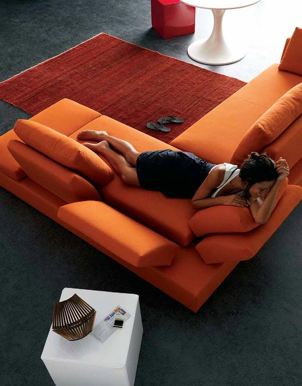 modernes wohnzimmer design grell orange stimmung behaglich