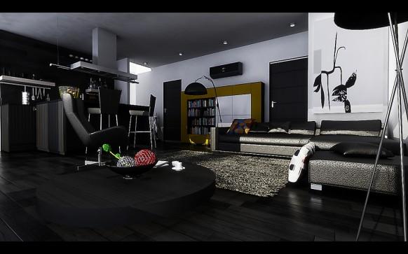 monochrom-wohn-und-esszimmer-schwarz-wohnbereich