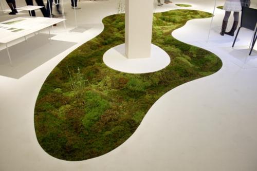 moos teppich originell einzigartig design auffallend weiß
