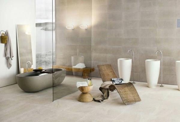 neutrales farbschema minimalistisch bad glaswand badewanne