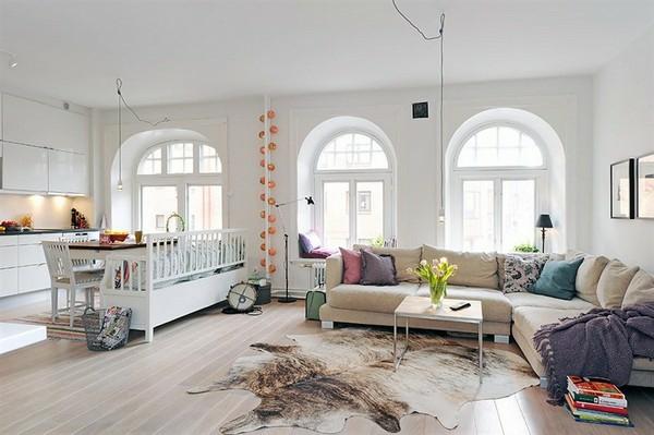 Nordische Wohnzimmer Ideen Design Teppich Tiermuster